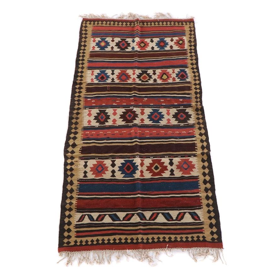 4'6 x 9'11 Antique Shasavan Kilim Wool Rug