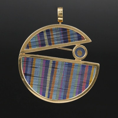 Signed 18K and Niobium Corrugated Converter Brooch