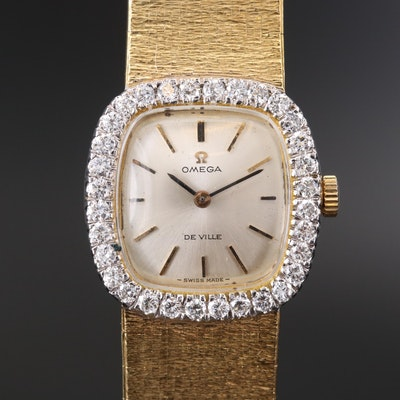 Omega DeVille 18K Gold and 1.12 CTW Diamond Bezel Stem Wind Wristwatch