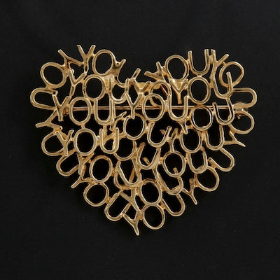 """Movado 18K Yellow Gold """"YOU"""" Heart Brooch"""