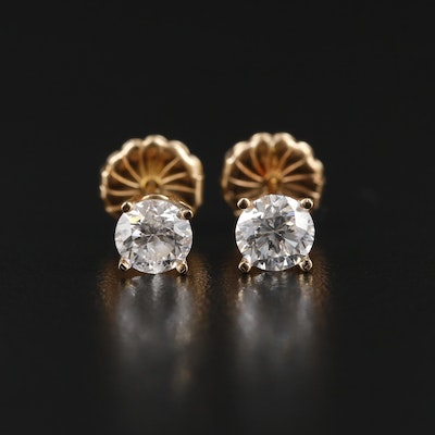 14K Yellow Gold 0.94 CTW Diamond Stud Earrings