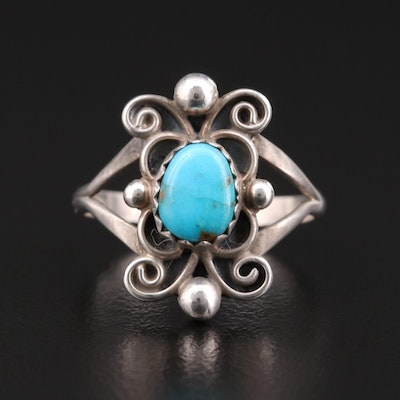 Southwestern Style Sterling Turquoise Scrollwork Ring