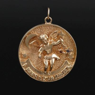 14K Yellow Gold Cherub Pendant With Sapphire and Ruby Star Accents