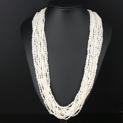 Multi-Strand Pearl Necklace with 14K Yellow Gold Clasp