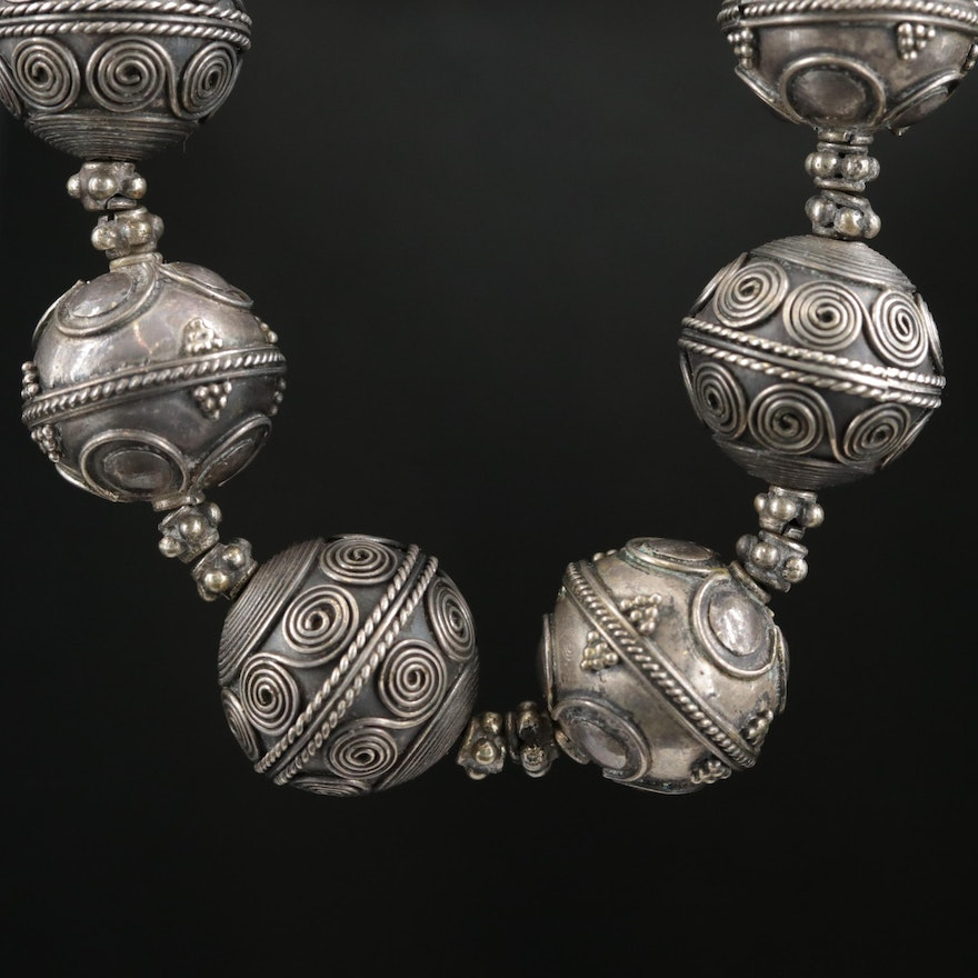 Sterling Silver Patterned Beaded Necklace