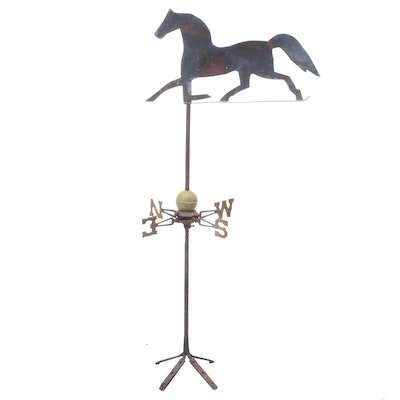 Trotting Horse Weathervane on Directional Mount, 19th/20th Century