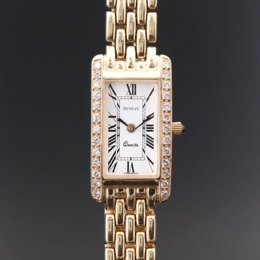 14K Gold and Diamond Geneve Quartz Wristwatch