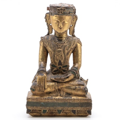 Burmese Konbaung Dynasty Lacquered and Gilt Shan Buddha with Glass Inlay