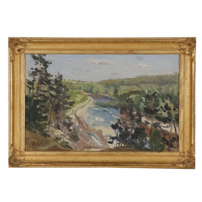 Russian Landscape Oil Painting, Mid 20th Century