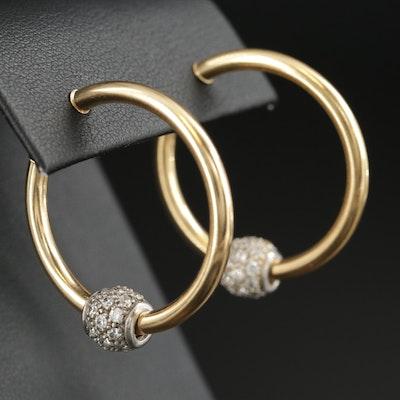 18K Yellow Gold Hoop Earrings with Cubic Zirconia Beads