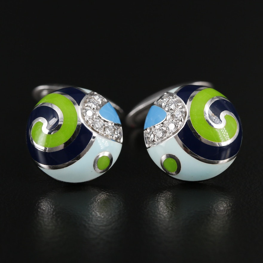 Roberto Coin Diamond Accented 18K White Gold Enameled Cufflinks