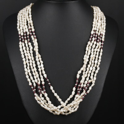 Multi-Strand Pearl and Rhodolite Garnet Necklace