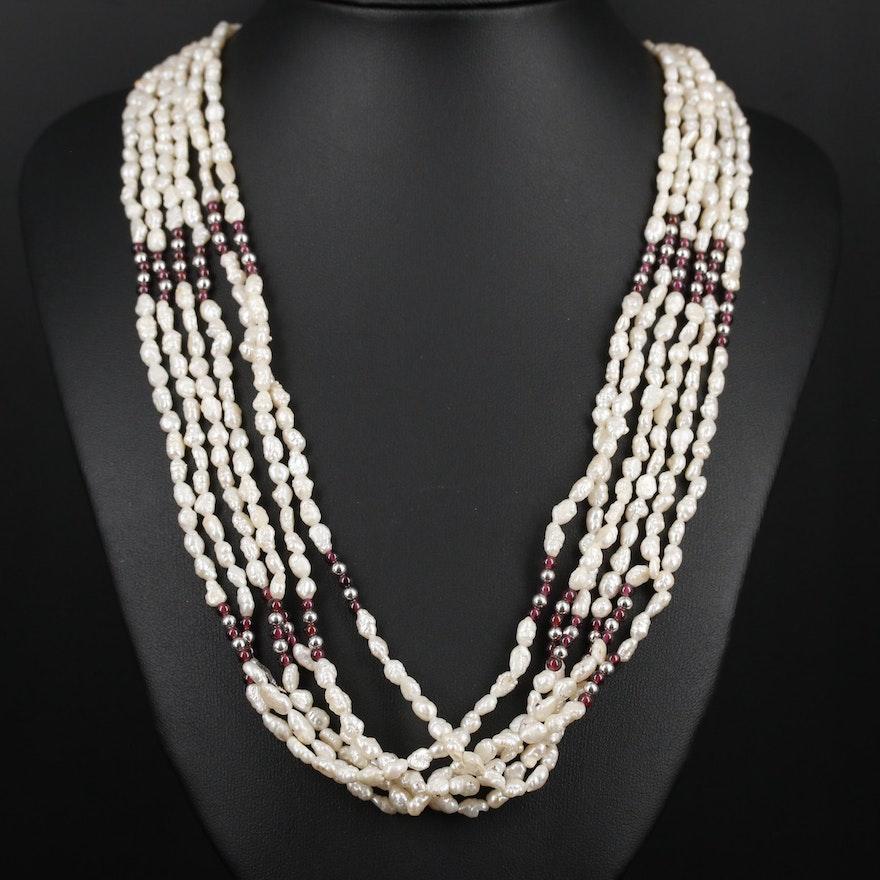 Multi-Strand Pearl and Rhodolite Garnet Necklace