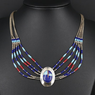 Southwestern Style Sterling Silver Necklace Featuring Imitation Gemstone Accents