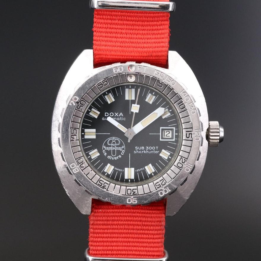 Vintage Doxa Sub 300T Shark Hunter Aqua Lung Stainless Steel Wristwatch