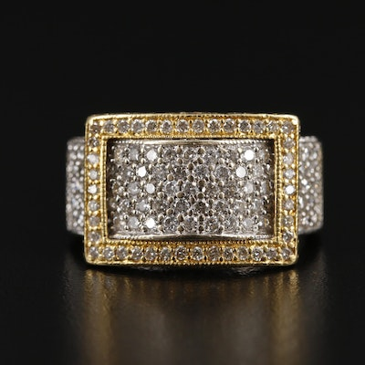 18K Gold 2.09 CTW Diamond Buckle Ring
