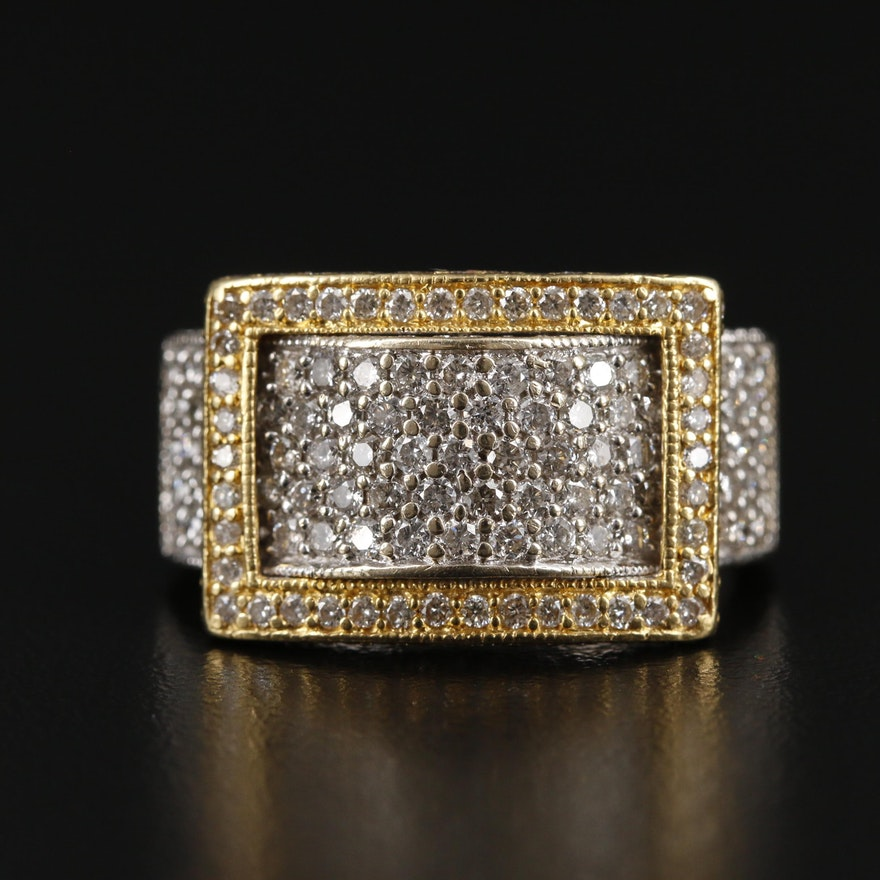 18K Gold 2.09 CTW Diamond Buckle Ring