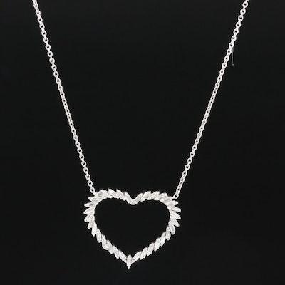 18K White Gold Diamond Open Heart Necklace
