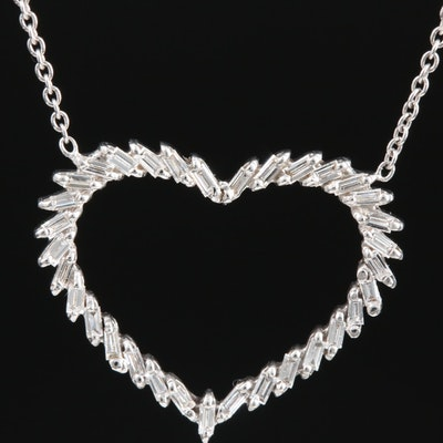 18K White Gold Diamond Open Heart Necklace