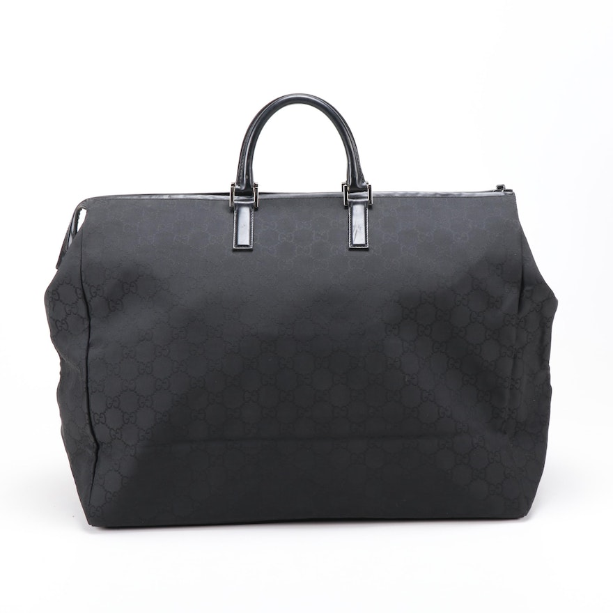 Gucci GG Canvas and Leather Weekender Bag in Black