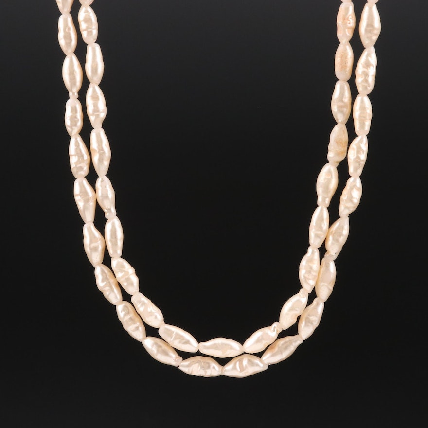 Imitation Pearl Necklace with Sterling Silver Clasp