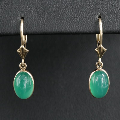 14K Yellow Gold Chalcedony Drop Earrings