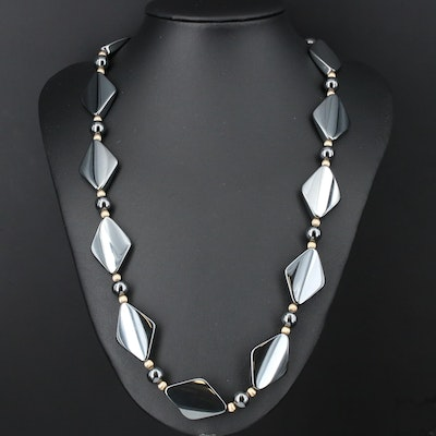 Synthetic Hematite Beaded Necklace