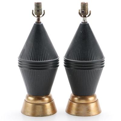 Pair of Mid Century Modern Metal Table Lamps