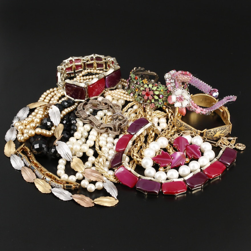 Beaded Necklace and Bracelet Selection Featuring Lisner and Swarovski