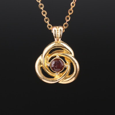 Knot Motif Pendant Necklace with Garnet Accent