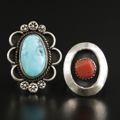 Southwestern Style Shadowbox Rings with Turquoise and Coral