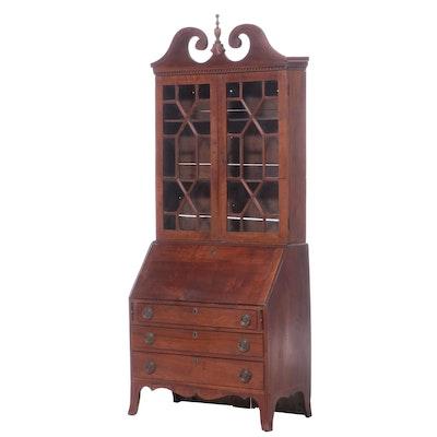 American Hepplewhite Walnut Secretary Desk, Early 19th Century