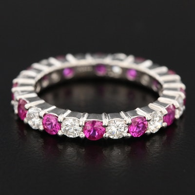 Platinum 1.00 CTW Diamond and Ruby Eternity Band