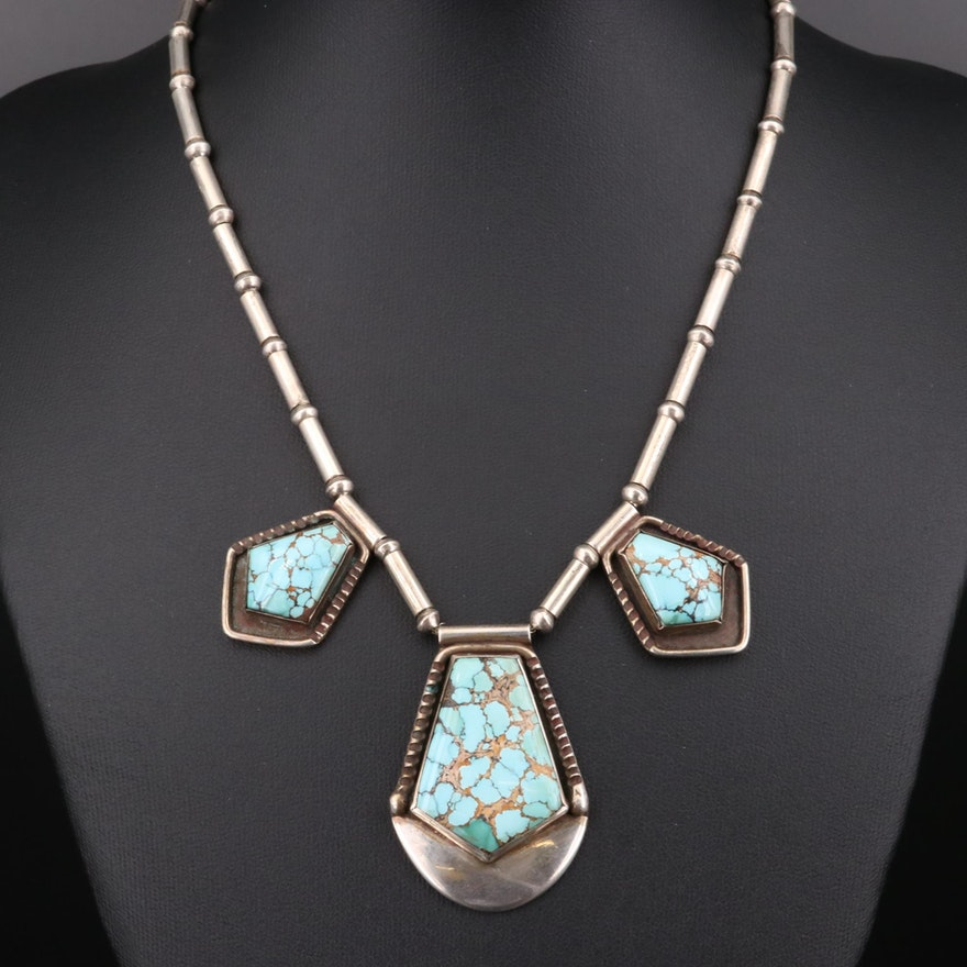 Mark Chee Navajo Diné Sterling Silver Turquoise Necklace