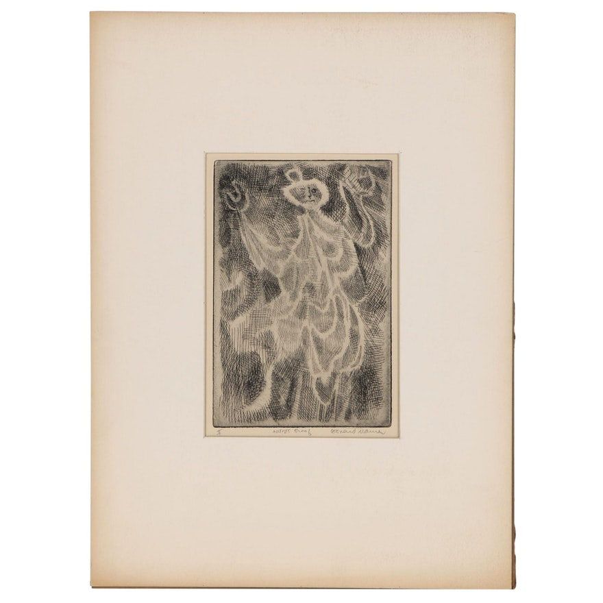 Leonard Maurer Abstract Figural Etching, Mid 20th Century
