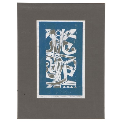 "Leonard Maurer Woodcut ""Mayan Machine"", 1973"