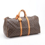 Louis Vuitton Keepall 55 in Monogram Coated Canvas and Vachetta Leather