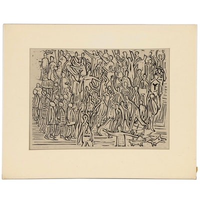 "Leonard Maurer Woodcut ""On the Street"", 1968"