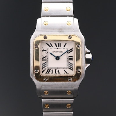 Cartier Santos Galbee 18K Gold and Stainless Steel Wristwatch