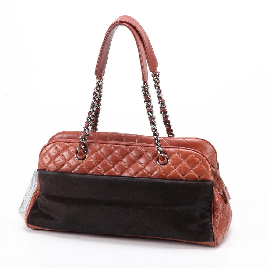 Chanel Pony Hair and Quilted Leather Chain Strap Bowler Bag