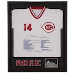 """Pete Rose Signed Limited Edition """"Statistic"""" Reds Jersey, Framed"""