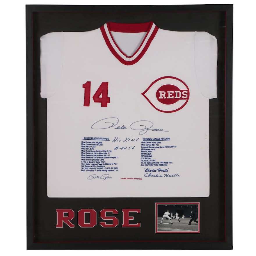 "Pete Rose Signed Limited Edition ""Statistic"" Reds Jersey, Framed"