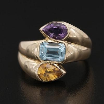 14K Gold Citrine, Amethyst and Topaz Ring