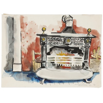 Leonard Maurer Ink and Watercolor Painting of Antique Wood Burning Stove, 1954