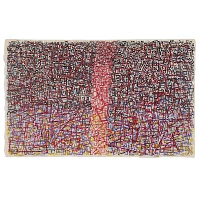 Leonard Maurer Abstract Mixed Media Painting, 1967