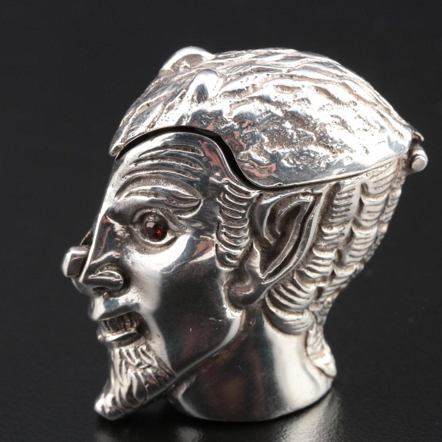 Sterling Silver Devil Head Vesta Case with Garnet Eyes