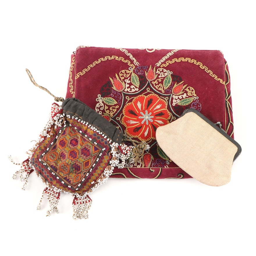 Floral Embroidered Clutch with Coin Purse and Beaded Pouch, Vintage