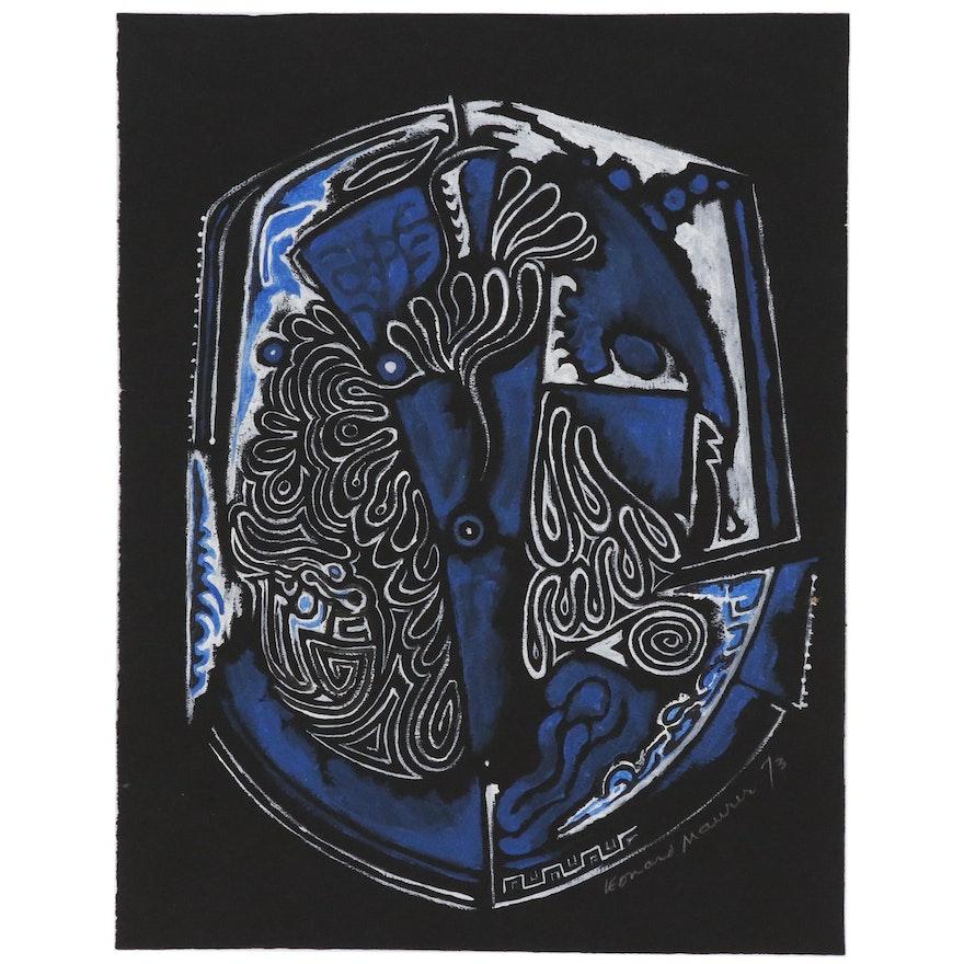 Leonard Maurer Abstract Gouache Painting, 1973
