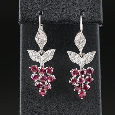 Platinum Ruby and Diamond Grape Cluster Drop Earrings