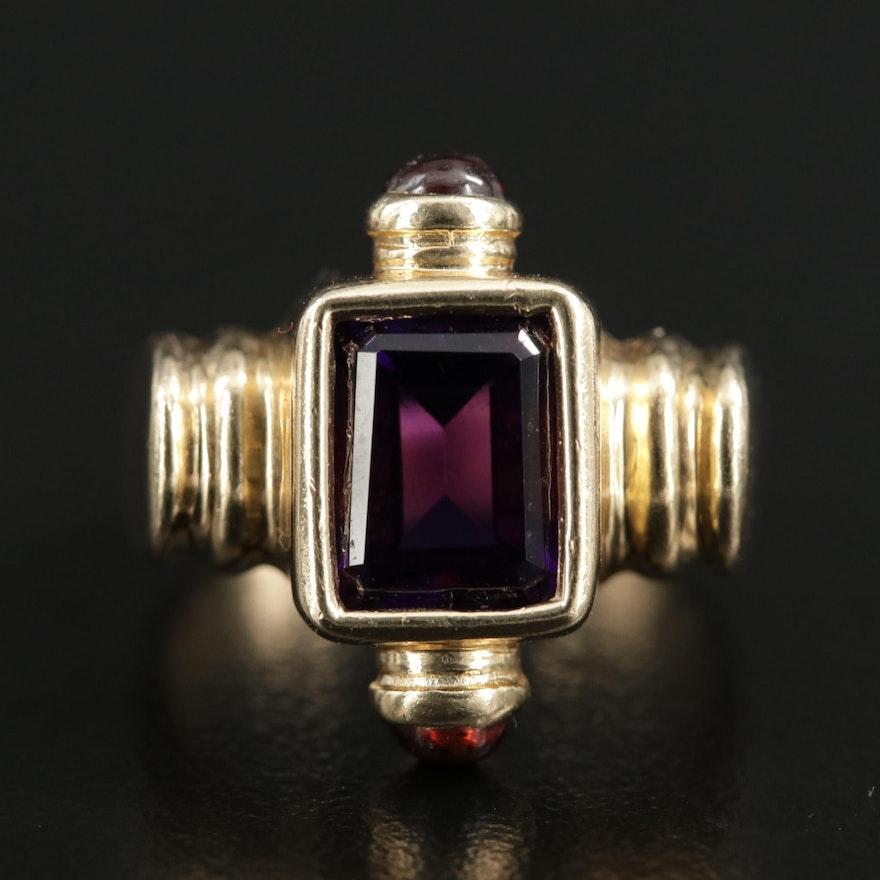 14K Gold Amethyst and Garnet Ring
